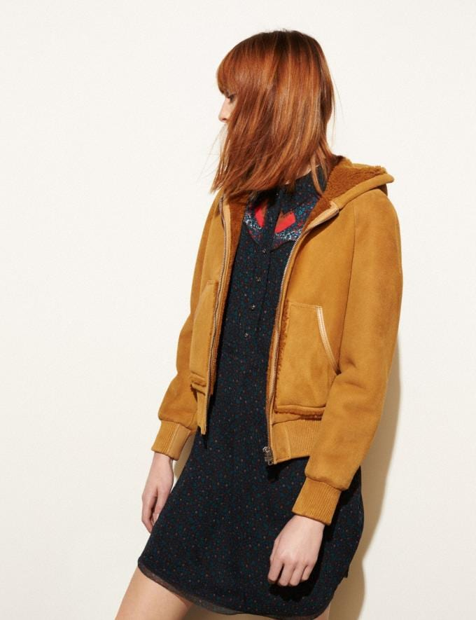 Coach Suede Shearling Hoodie Honey DEFAULT_CATEGORY Alternate View 4
