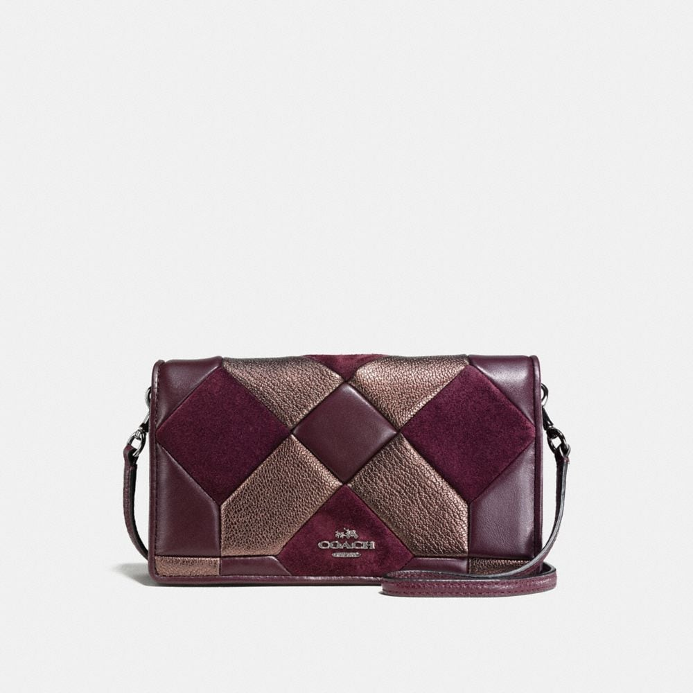 CANYON QUILT FOLDOVER CROSSBODY IN MIXED MATERIALS