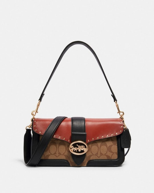 GEORGIE SHOULDER BAG IN COLORBLOCK SIGNATURE CANVAS WITH RIVETS
