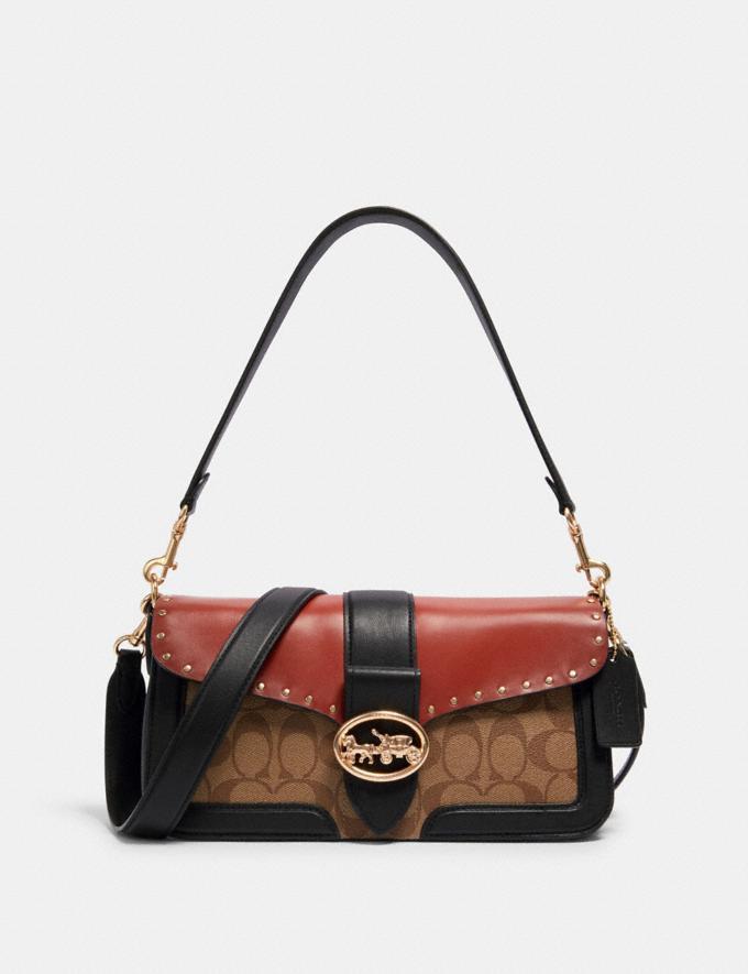 sac épaule georgie en toile exclusive color-block avec clous