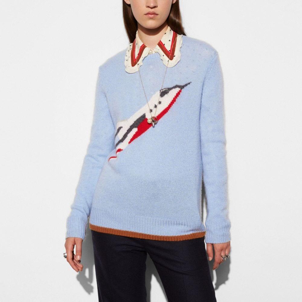 Coach Rocketship Intarsia Crewneck Sweater