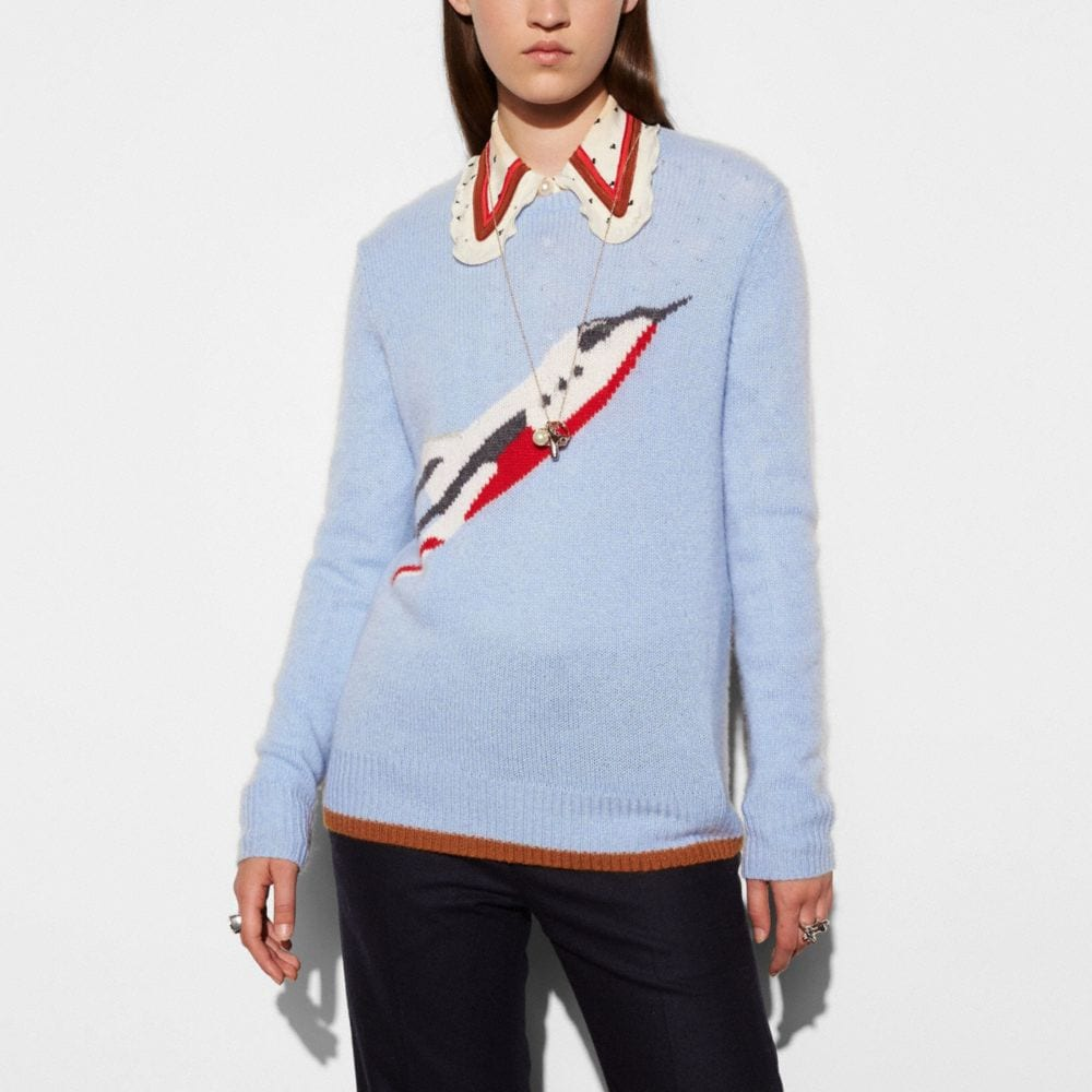 Coach Rocketship Intarsia Crewneck Sweater