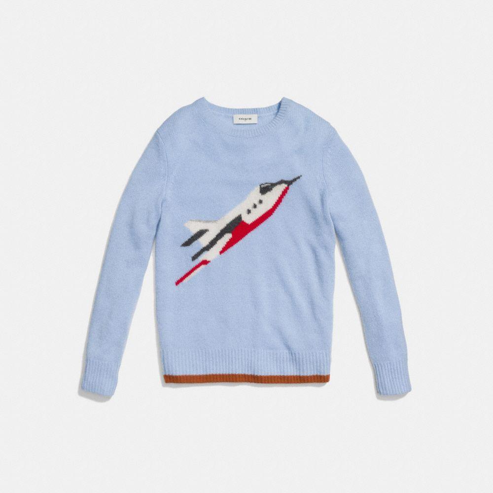 Coach Rocketship Intarsia Crewneck Sweater Alternate View 1