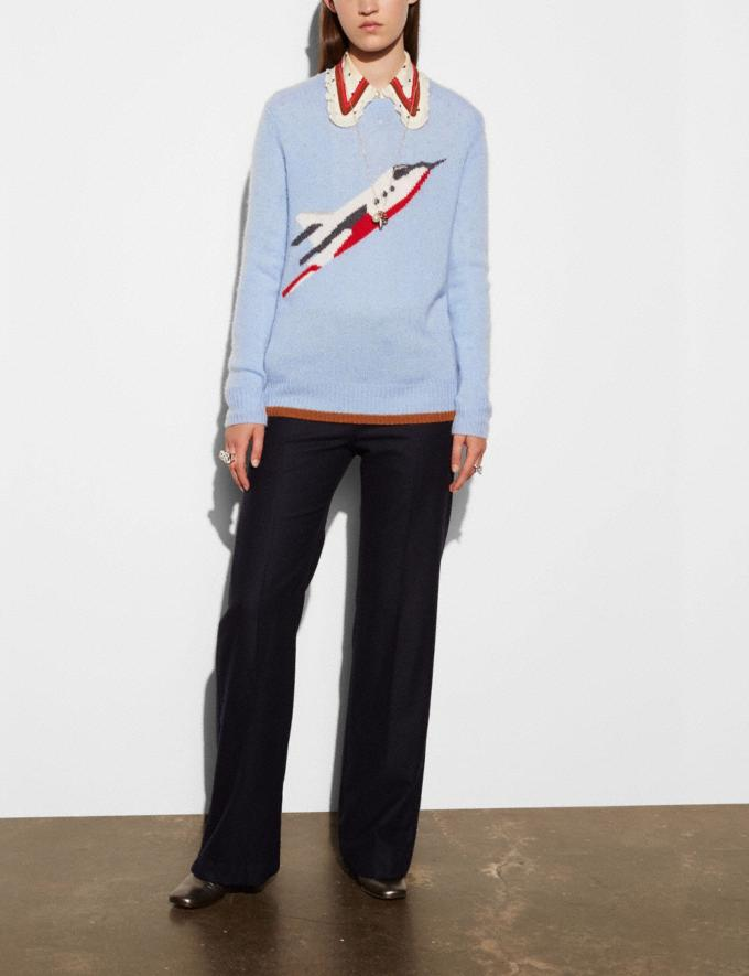 Coach Rocketship Intarsia Crewneck Sweater Powder Blue Women Ready-to-Wear Tops Alternate View 2