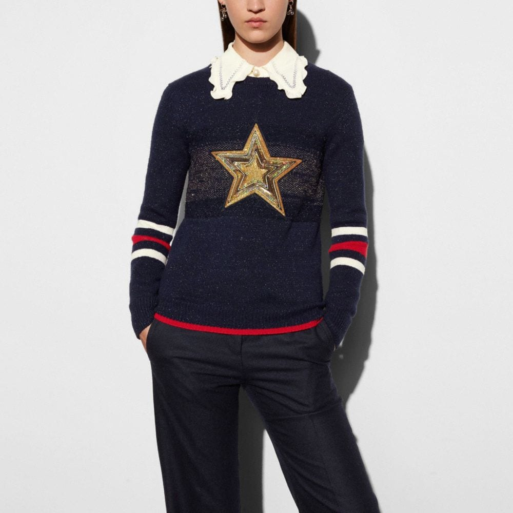 Coach Wool Glitter Star Crewneck Sweater
