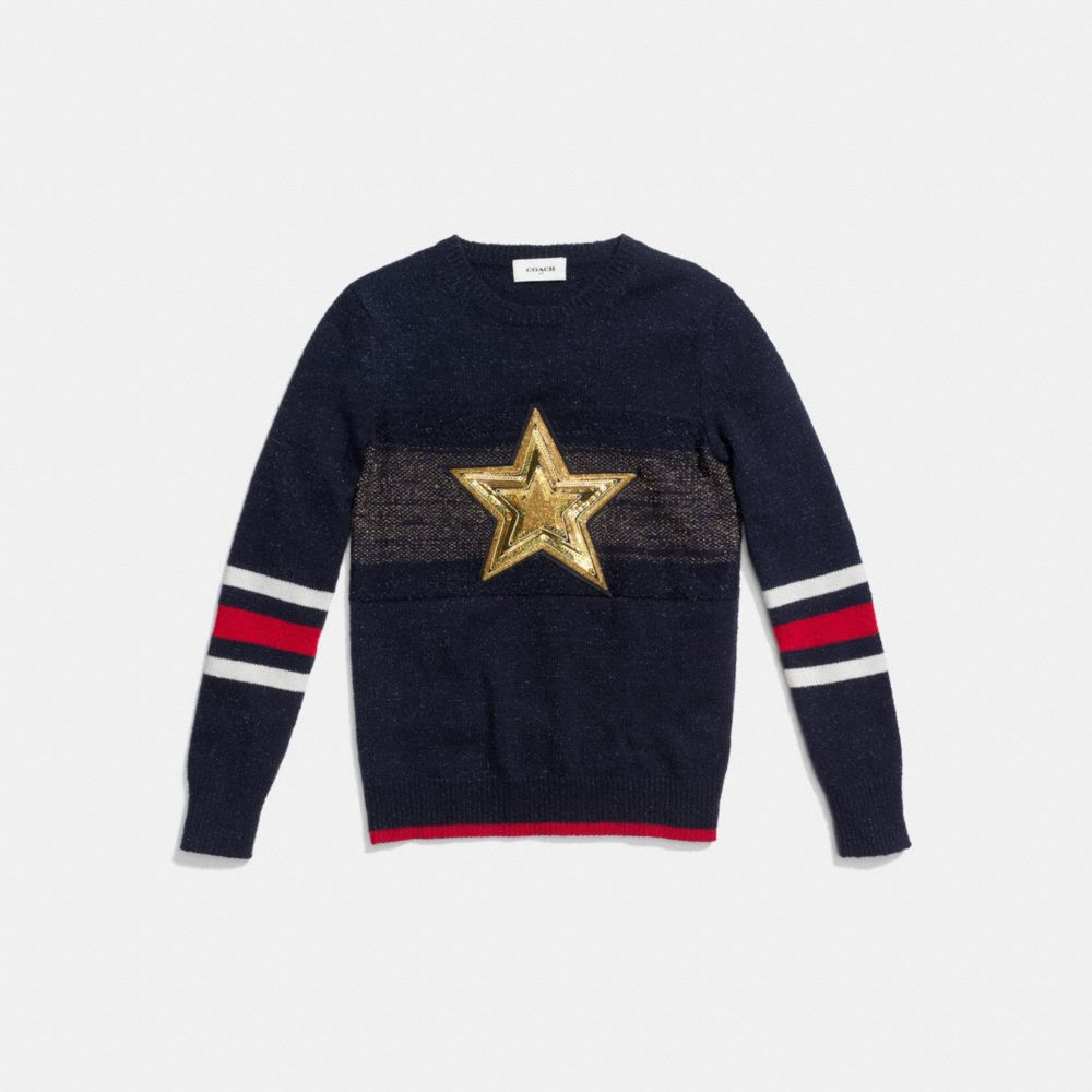 Coach Wool Glitter Star Crewneck Sweater Alternate View 1