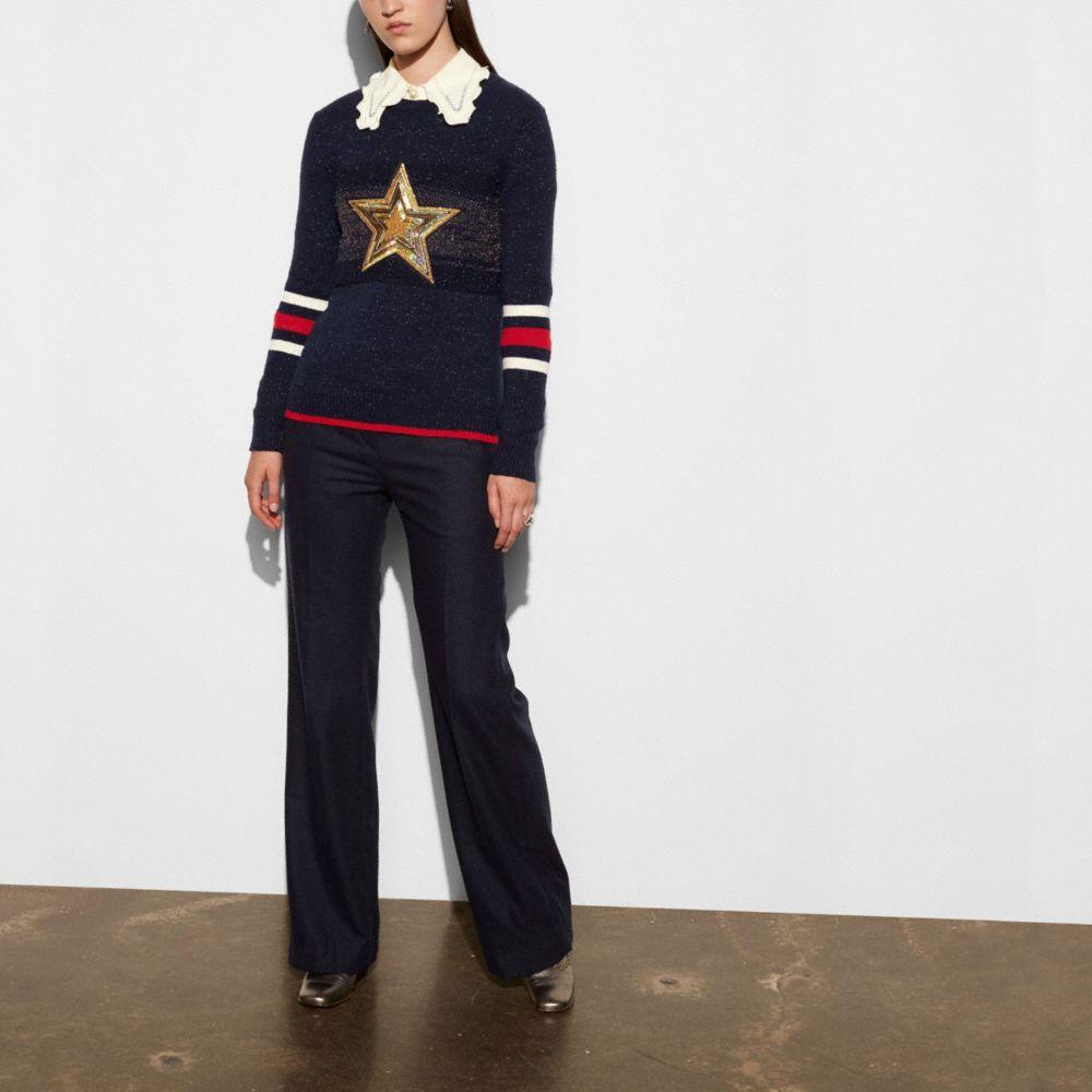 Wool Glitter Star Crewneck Sweater - Alternate View M1