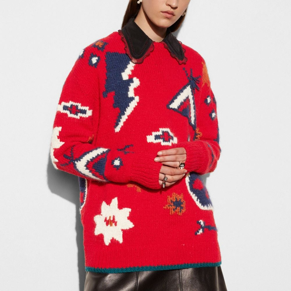Coach Motif Crewneck Sweater