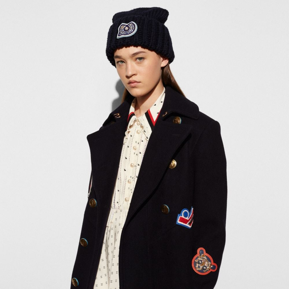 Coach Chunky Embellished Patch Beanie