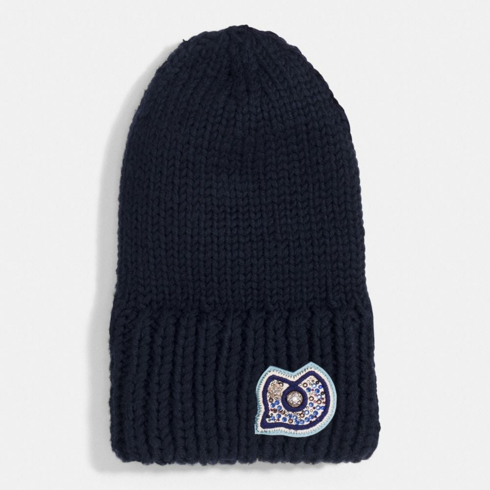 Coach Chunky Embellished Patch Beanie Alternate View 1