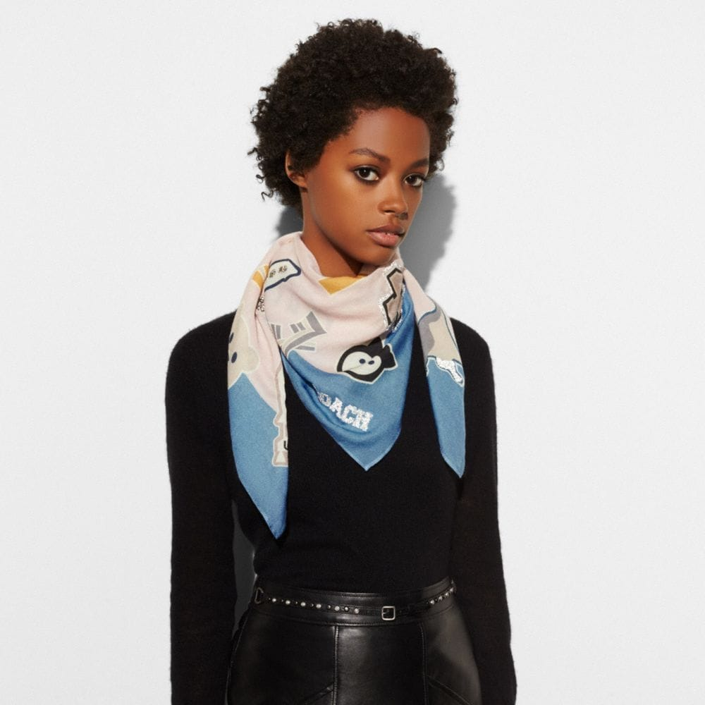 EMBELLISHED VARSITY PATCH OVERSIZED SQUARE SCARF