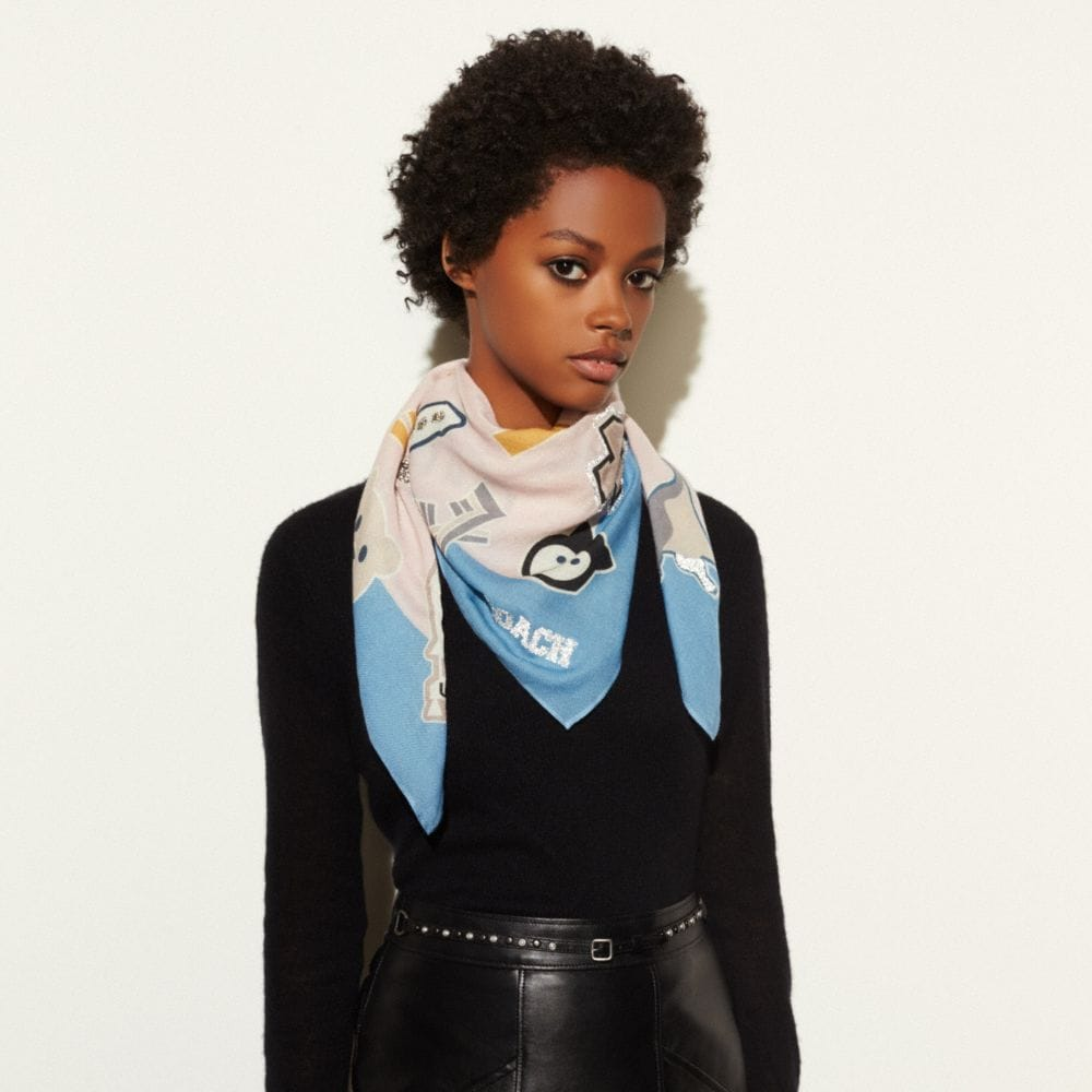 Embellished Varsity Patch Oversized Square Scarf - Alternate View A1