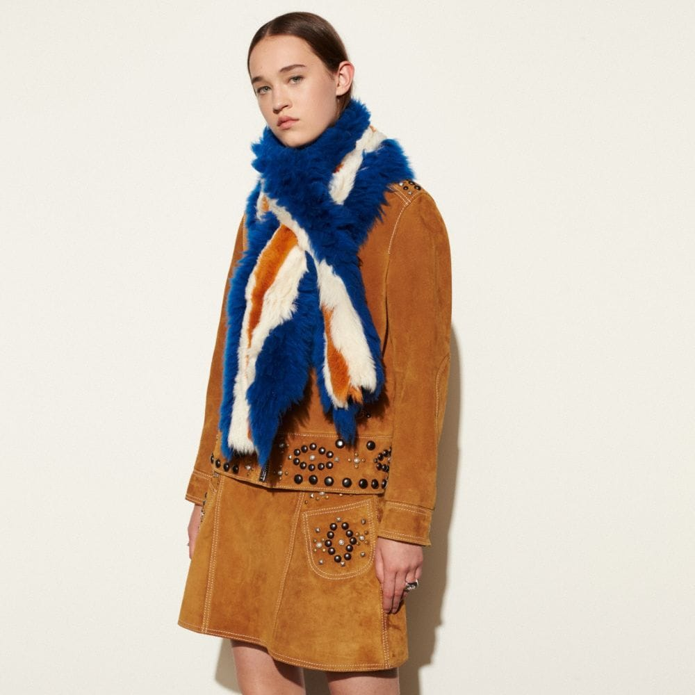 Coach Varsity Stripe Shearling Shawl Alternate View 1