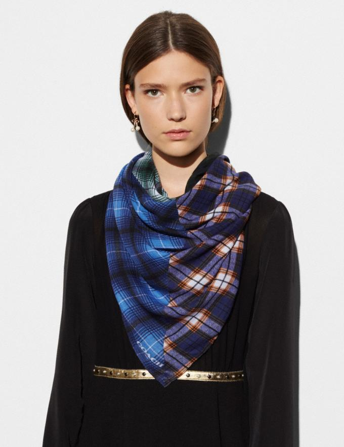 Coach Plaid Mix Oversized Square Scarf Blue Women Accessories Scarves