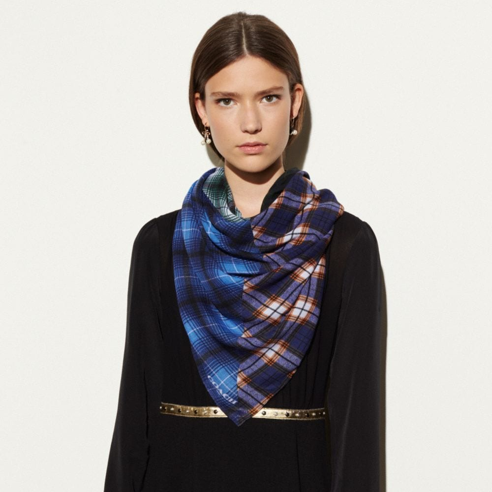 Coach Plaid Mix Oversized Square Scarf Alternate View 1