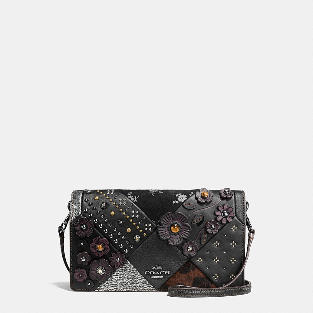Coach Foldover Crossbody In Embellished Canyon Quilt Leather