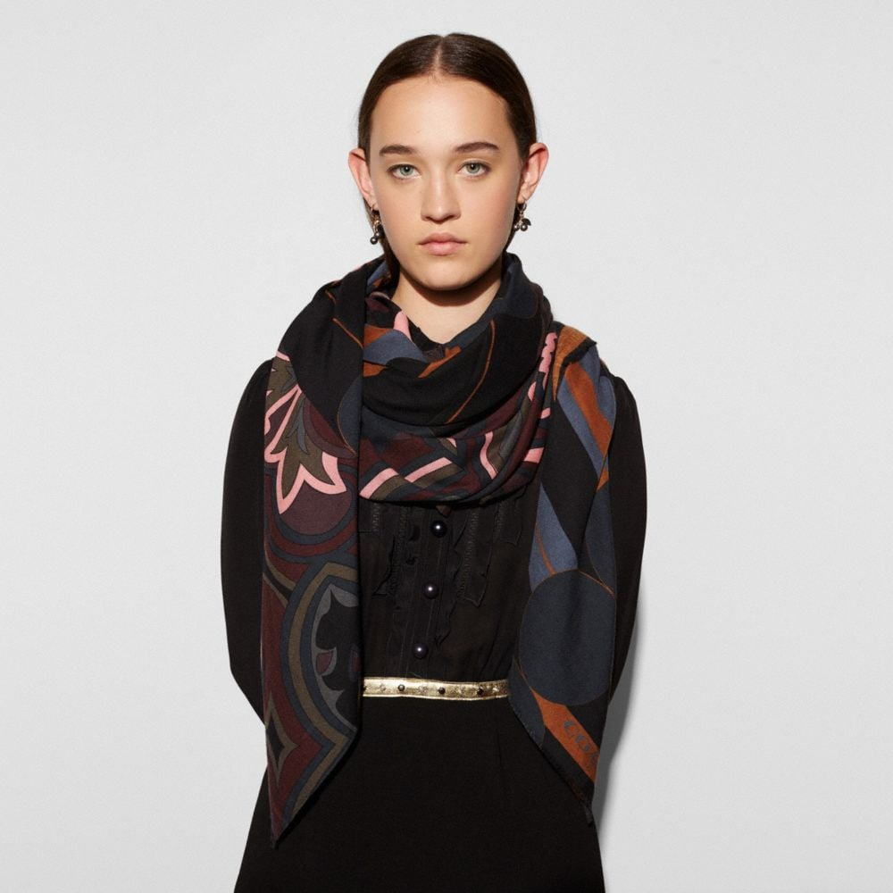 Coach Printed Patchwork Shawl
