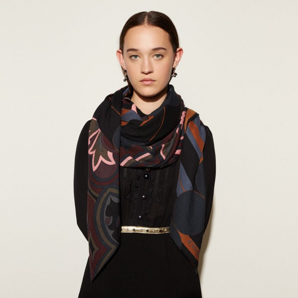 Coach Printed Patchwork Shawl Alternate View 1