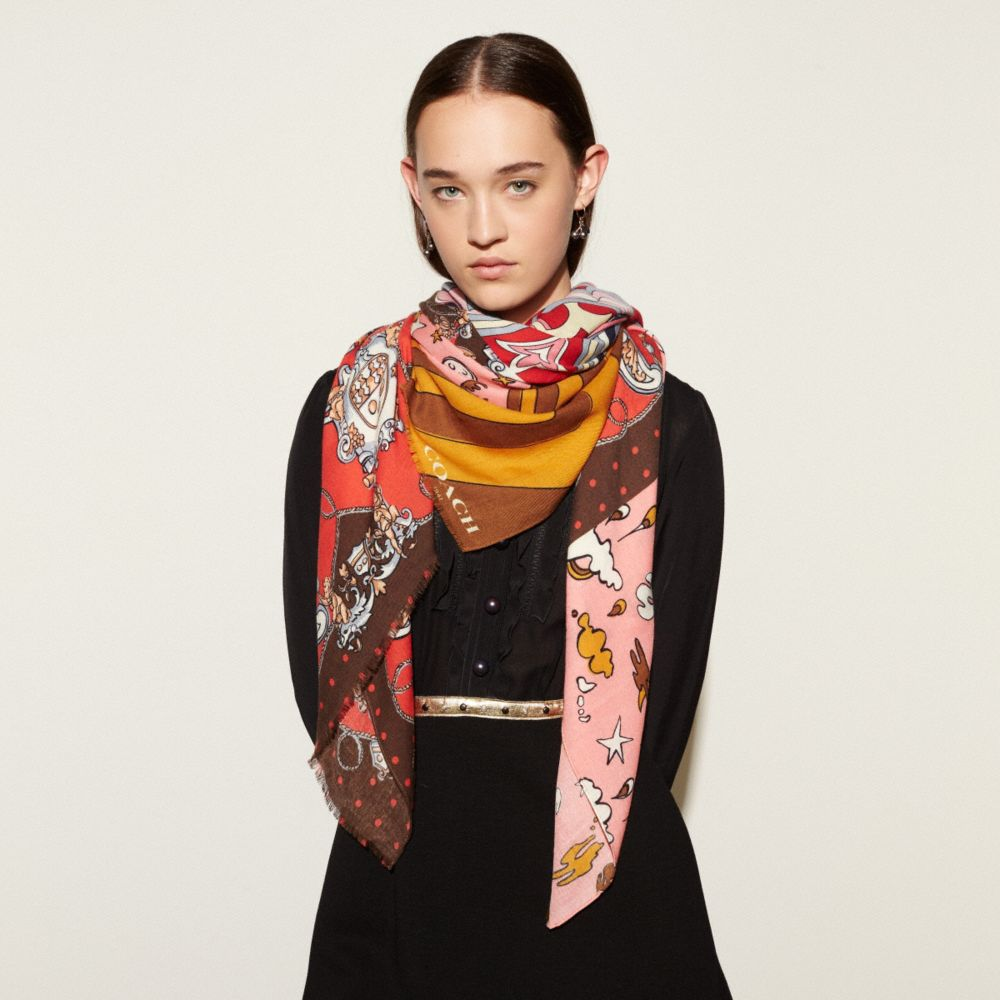 Printed Patchwork Shawl - Alternate View A1