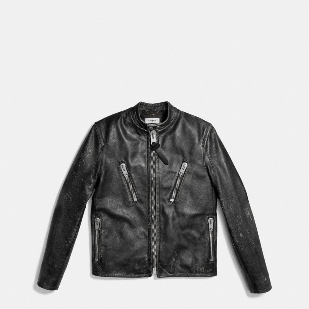 Leather Rub Off Racer Jacket