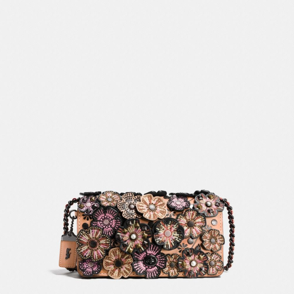 Coach Embellished Tea Rose Applique Dinky Crossbody in Glovetanned Leather