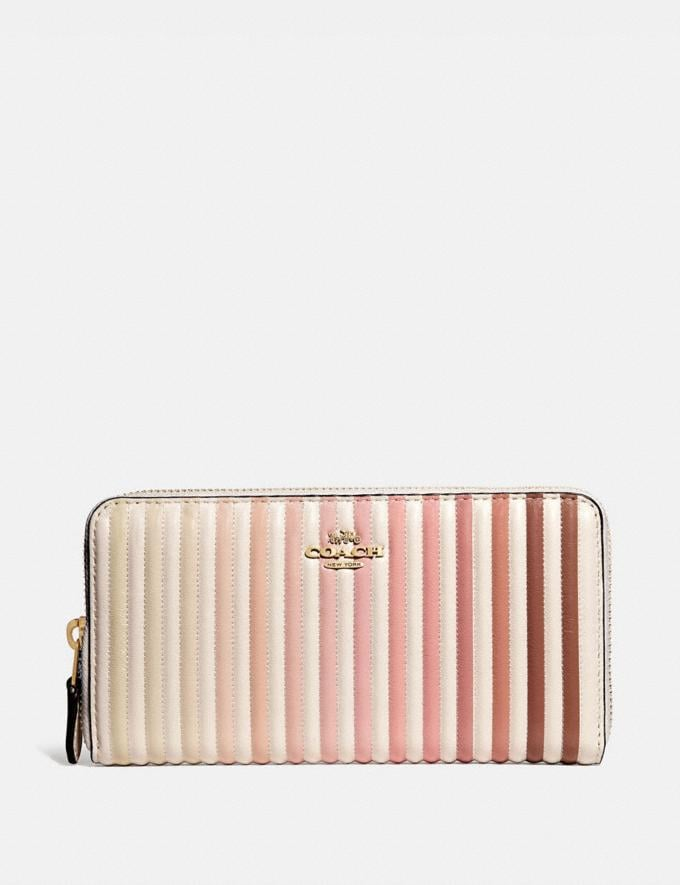 Coach Accordion Zip Wallet With Ombre Quilting Chalk Multi/Brass Women Small Leather Goods Large Wallets