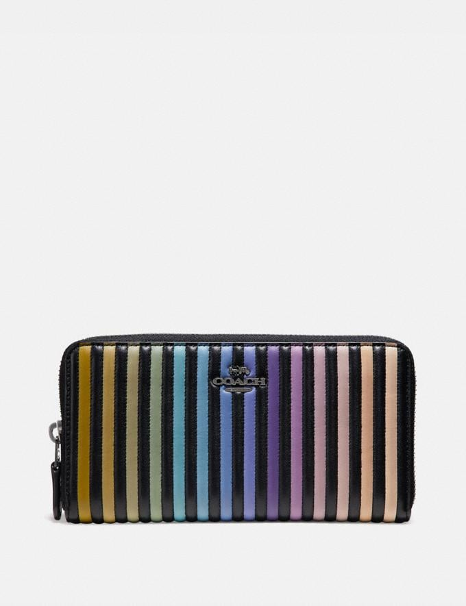 Coach Accordion Zip Wallet With Ombre Quilting Black Multi/Gunmetal Women Small Leather Goods Large Wallets