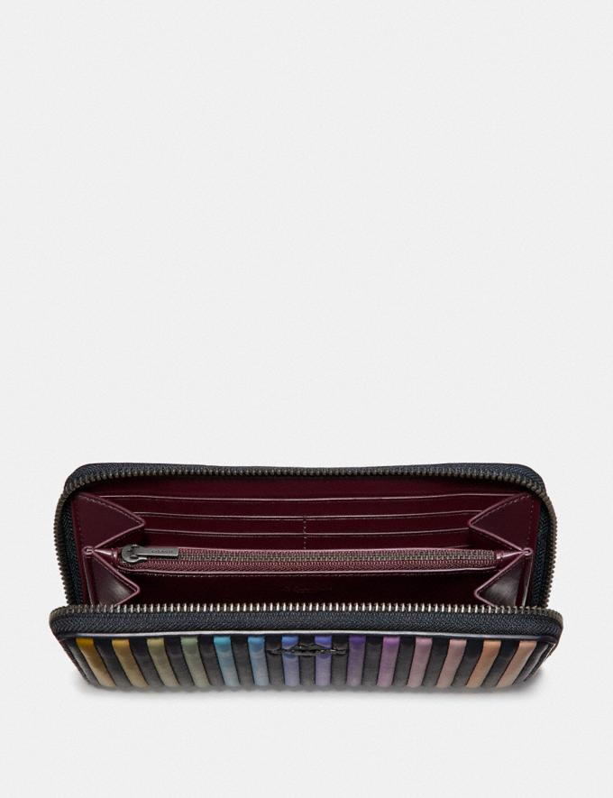 Coach Accordion Zip Wallet With Ombre Quilting Black Multi/Gunmetal Women Small Leather Goods Large Wallets Alternate View 1