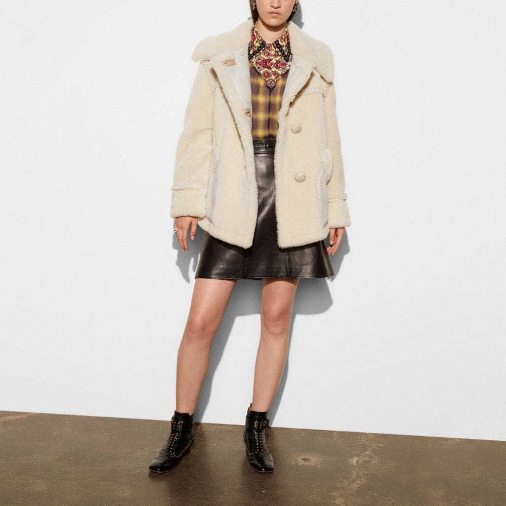 Coach Short Shearling Coat With Printed Lining