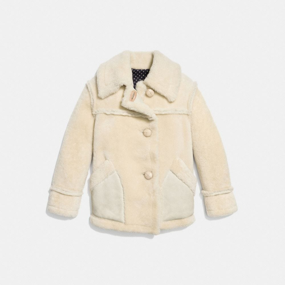 Coach Short Shearling Coat With Printed Lining Alternate View 1