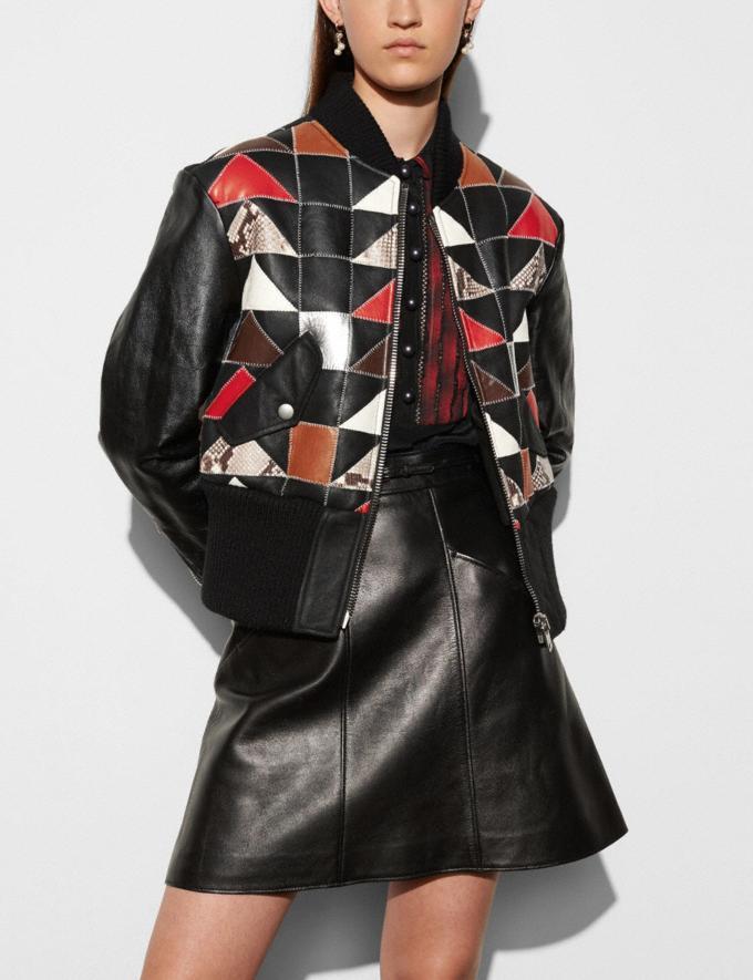 Coach Patchwork Shearling Ma-1 Jacket Black Women Ready-to-Wear Outerwear