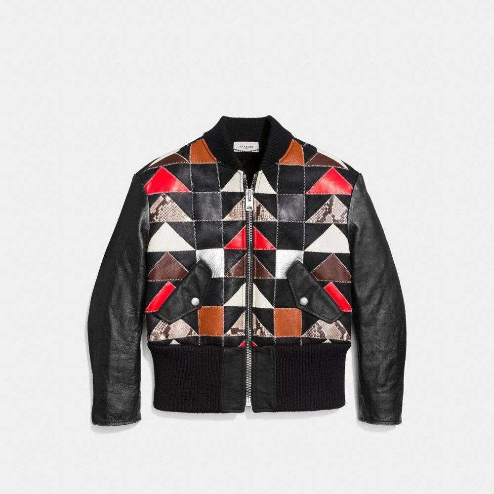 Patchwork Shearling Ma-1 Jacket - Alternate View A1