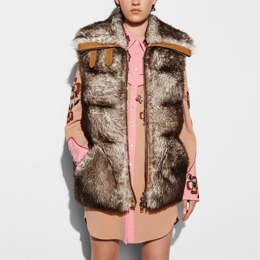 Coach Long Shearling Puffer Vest