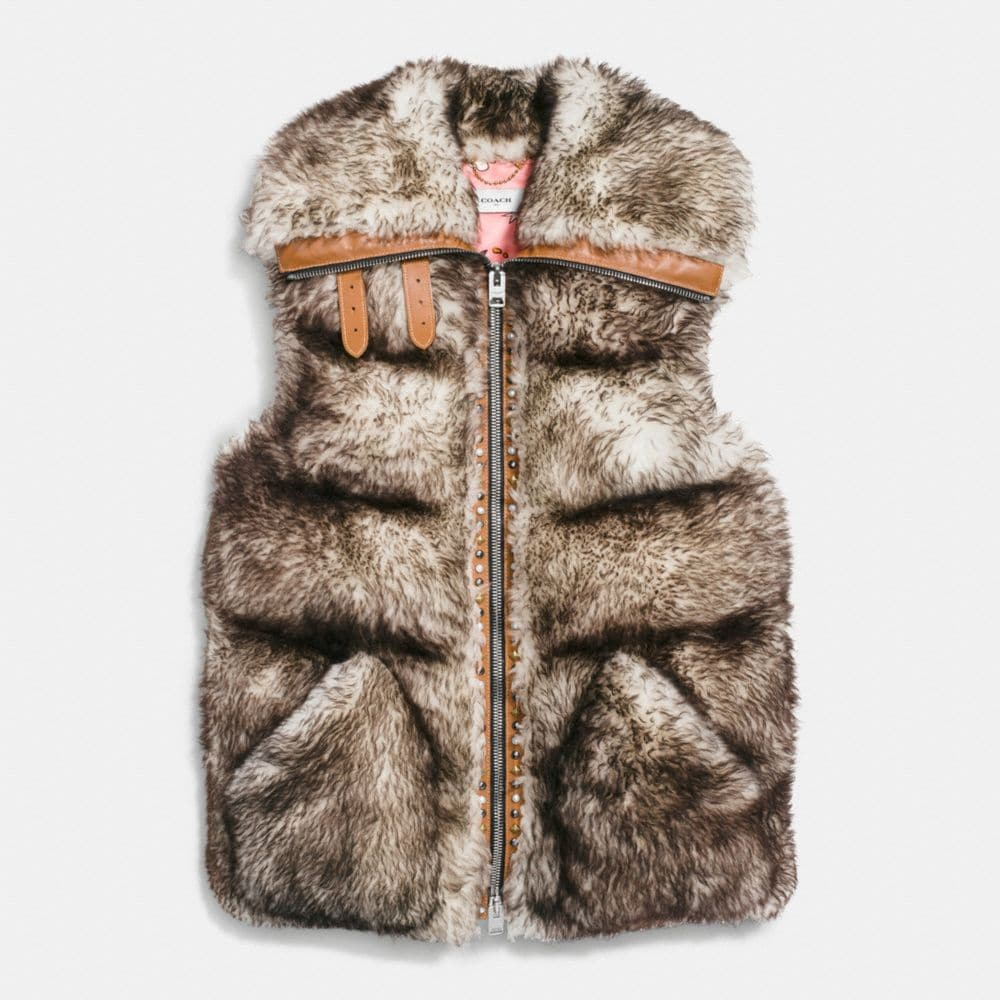Coach Long Shearling Puffer Vest Alternate View 1