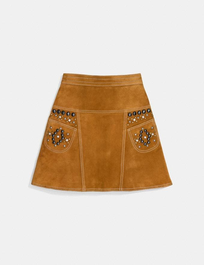 Coach A-Line Skirt With Studs Brown Women Ready-to-Wear Skirts