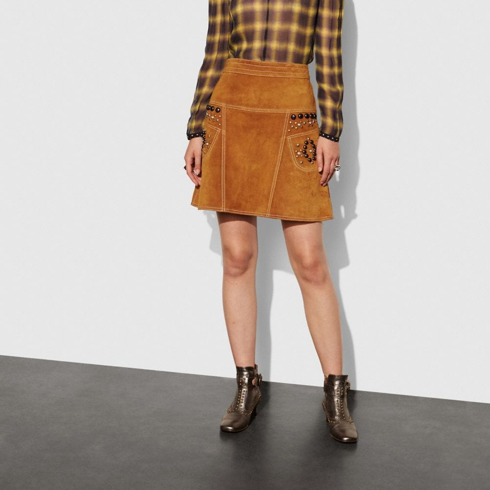 Coach A-Line Skirt With Studs Alternate View 1