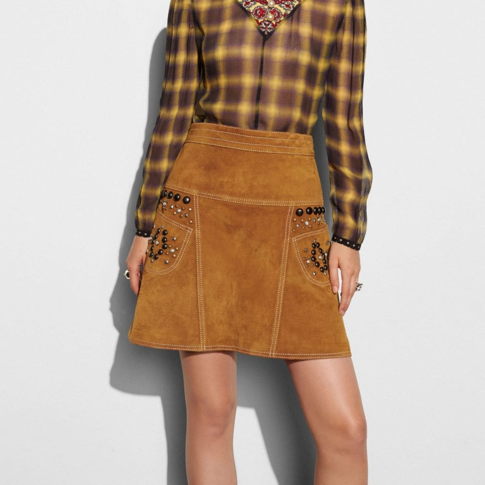 Coach A-Line Skirt With Studs Alternate View 2