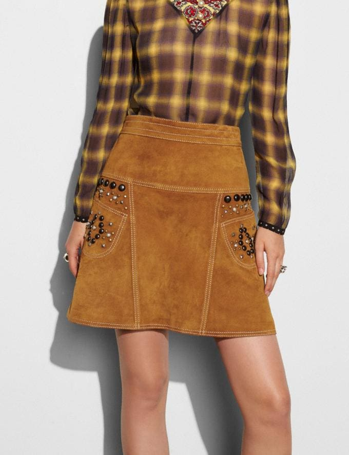 Coach A-Line Skirt With Studs Brown Women Ready-to-Wear Skirts Alternate View 2