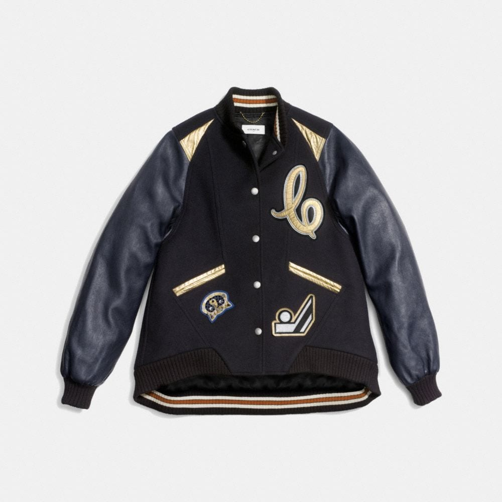 Oversized Varsity Jacket With Metallic Inserts - Alternate View A1