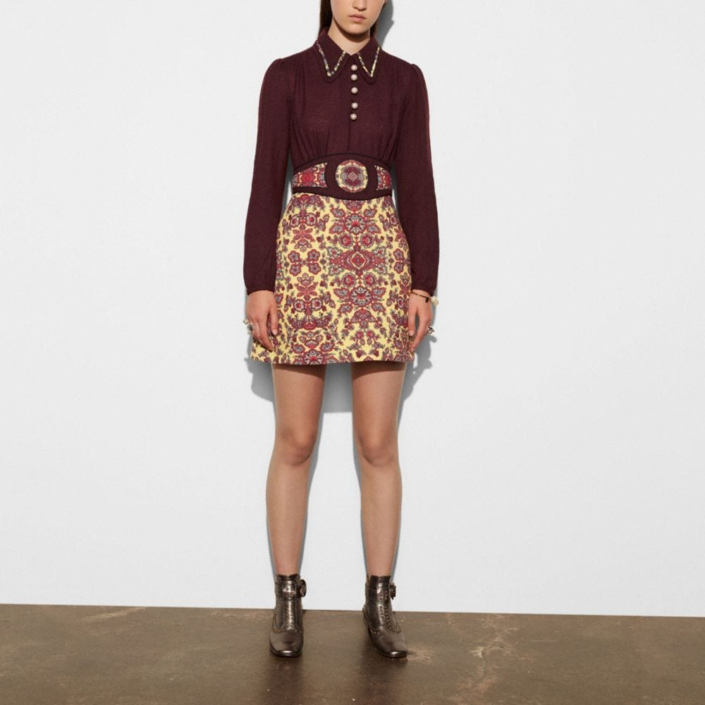 Coach Forest Flower Varsity Dress With Collar