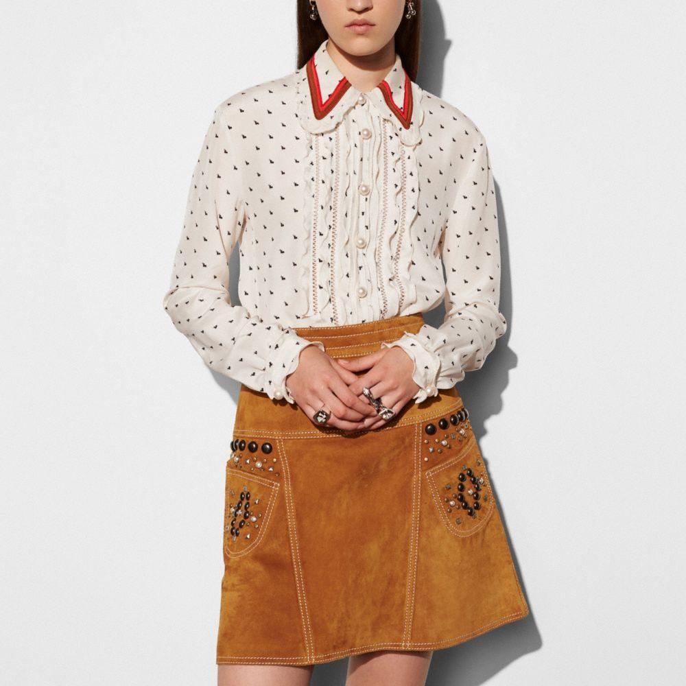 Coach Mini Bunny Print Shirt With Ruffle