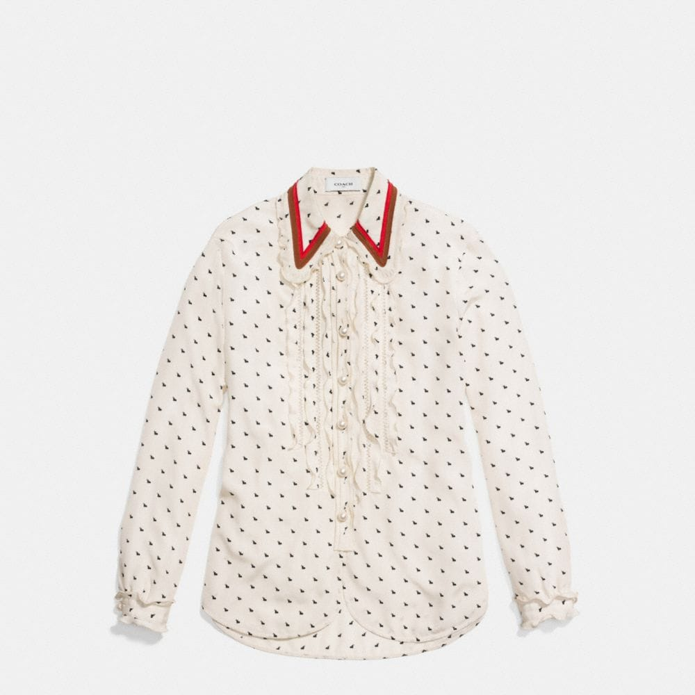 Mini Bunny Print Shirt With Ruffle  - Alternate View A1