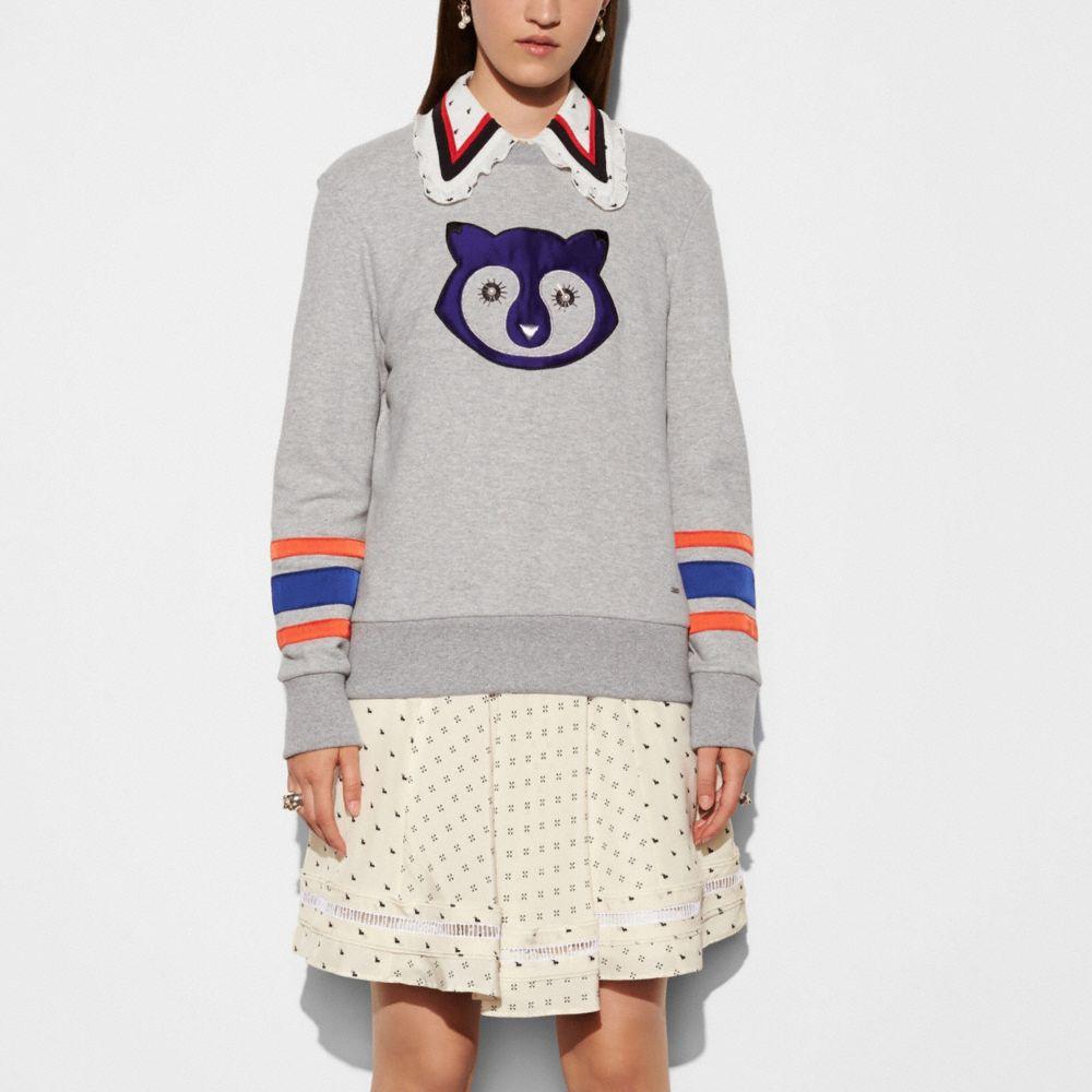 Embellished Raccoon Sweatshirt - Alternate View M