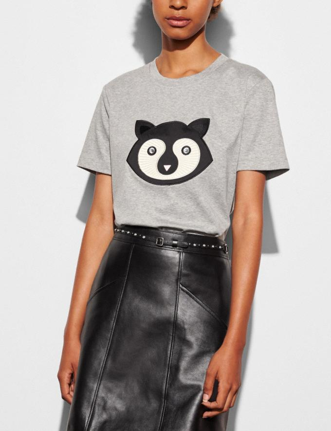 Coach Embellished Patch Raccoon T-Shirt  Grey Women Ready-to-Wear Tops