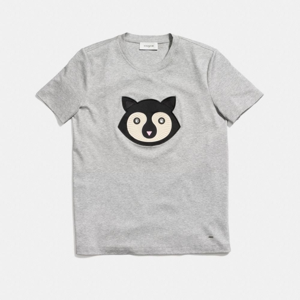 Coach Embellished Patch Raccoon T-Shirt  Alternate View 1