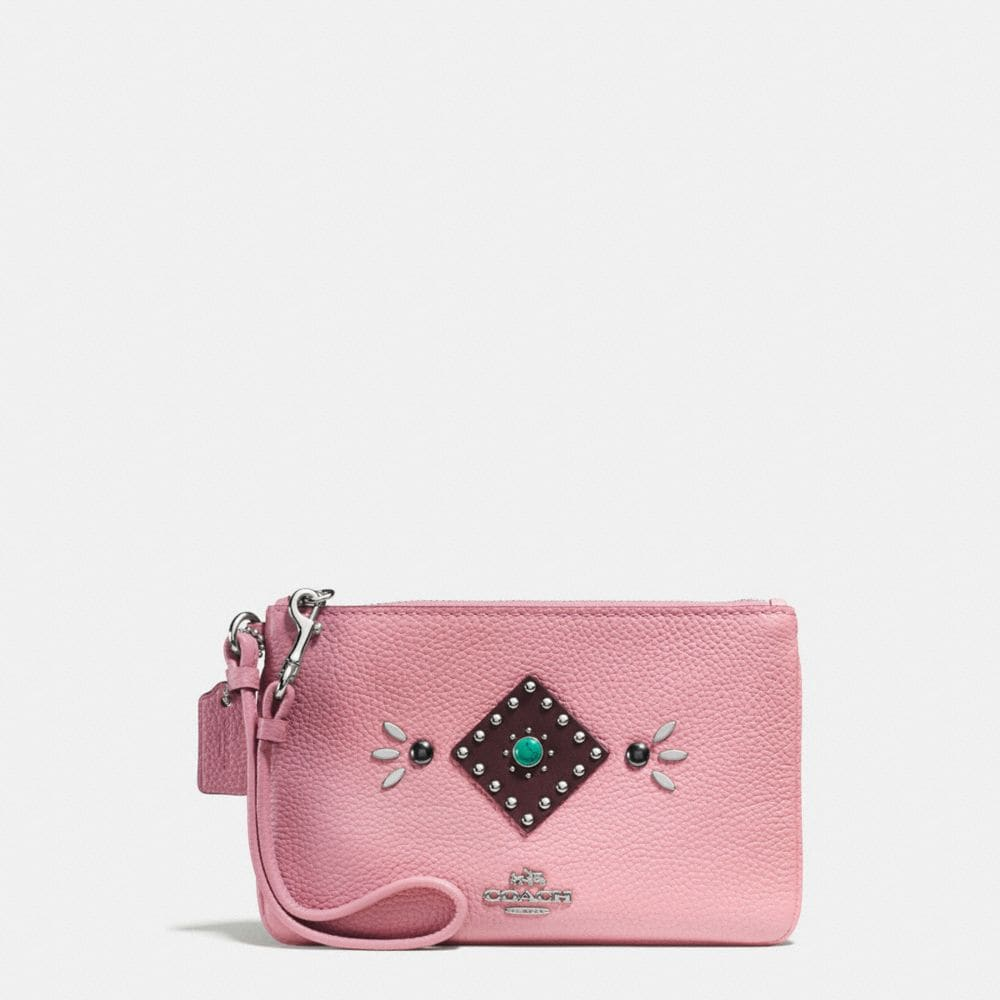 WESTERN RIVETS SMALL WRISTLET IN POLISHED PEBBLE LEATHER