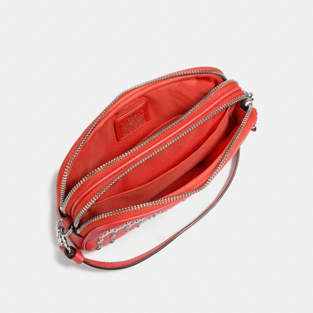 Crossbody Clutch in Polished Pebble Leather With Ombre Rivets - Alternate View A1