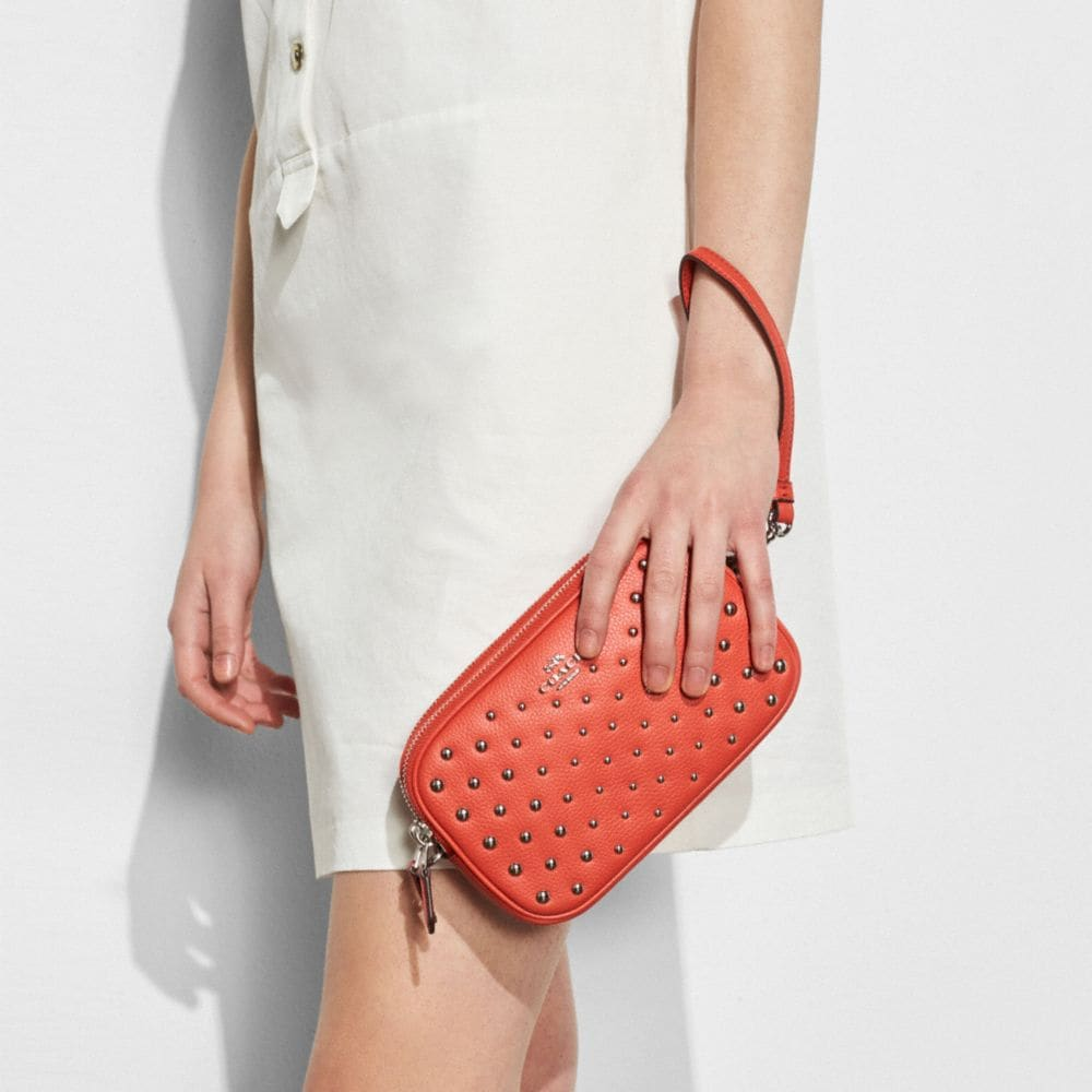 Crossbody Clutch in Polished Pebble Leather With Ombre Rivets - Alternate View A3