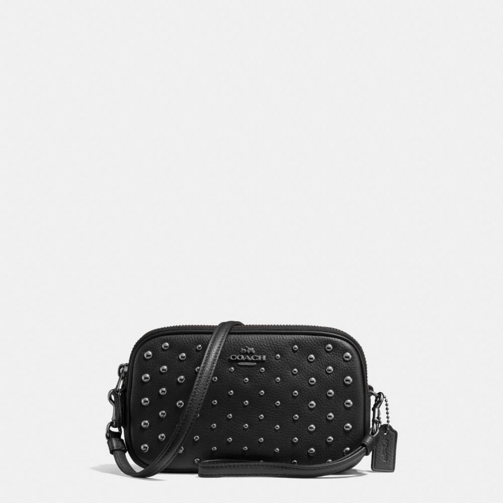 Crossbody Clutch in Polished Pebble Leather With Ombre Rivets