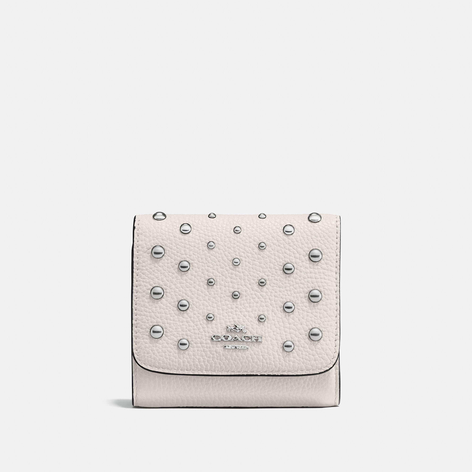 Coach Small Wallet In Polished Pebble Leather With Ombre Rivets